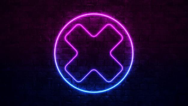Świecący Krzyż Neonowy Znak. Fioletowa I Niebieska Ramka Neon. Ciemny Mur Z Cegły. Premium Zdjęcia