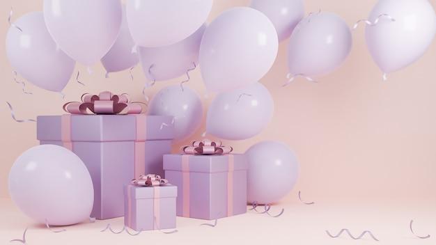 Święta Bożego Narodzenia I Szczęśliwego Nowego Roku Pastelowy Różowy Kolor Tła Z Pudełkiem I Balonem., Model 3d I Ilustracja. Premium Zdjęcia