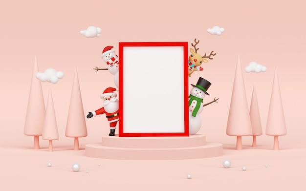 Święty Mikołaj I Przyjaciele Z Pustą Ramką Premium Zdjęcia
