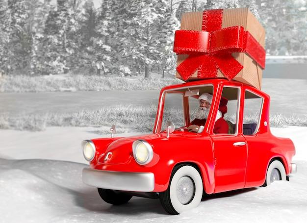 Święty mikołaj w samochodzie niesie prezent na śniegu Premium Zdjęcia