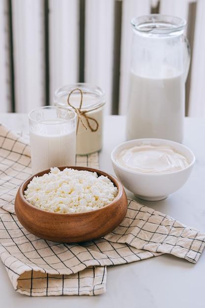 Świeże Produkty Mleczne, Mleko, Twaróg, śmietana, śmietana, Produkty Rolne Premium Zdjęcia