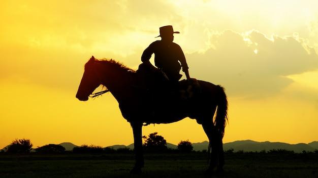 Sylwetka Kowbojski Jeździecki Koń Przeciw Zmierzchowi W Polu Premium Zdjęcia