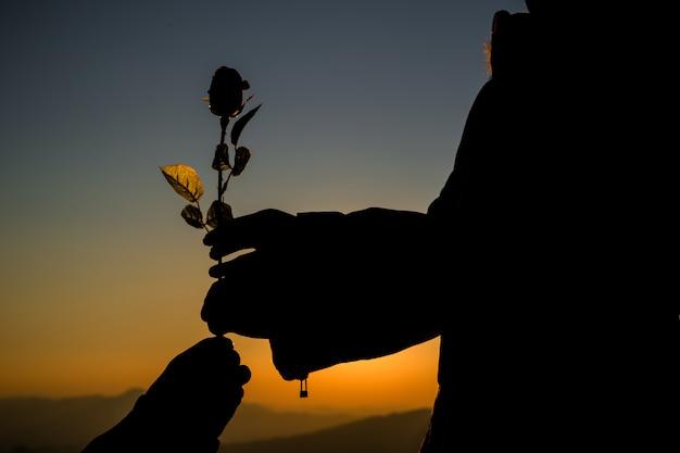 Sylwetka pary mienie wzrastał na wzgórzu przy zmierzch czasu linią horyzontu na tle Darmowe Zdjęcia