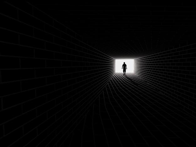 Sylwetka W Tunelu Metra. światło Na Końcu Tunelu Premium Zdjęcia