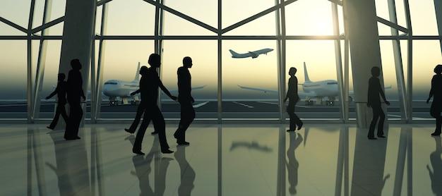 Sylwetki Ludzi W Poczekalni Terminalu Lotniska Czekać Na Samolot Premium Zdjęcia