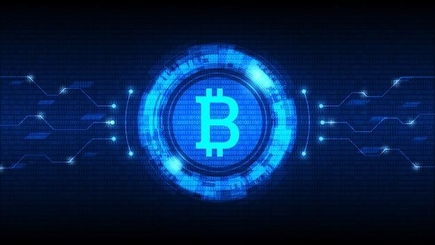 Symbol Bitcoin Z Futurystycznym Interfejsem Hud, Cyfrowa Waluta Premium Zdjęcia