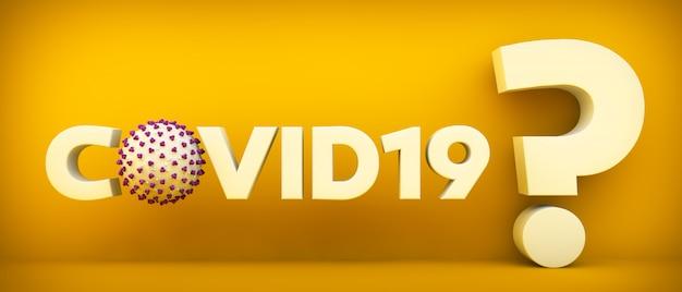 Symbol Koronawirusa I Znak Zapytania Na żółtym Tle Premium Zdjęcia
