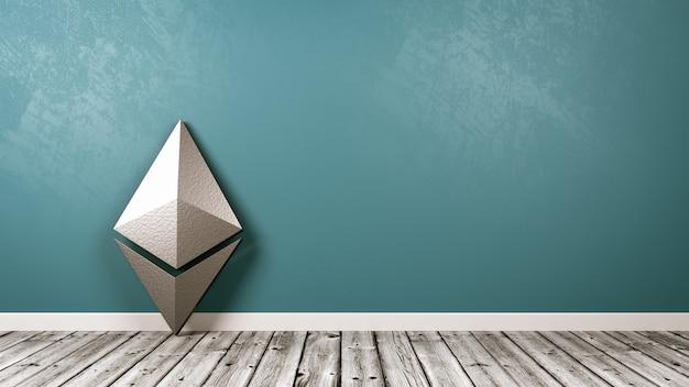 Symbol Kryptowaluty Ethereum W Pokoju Premium Zdjęcia