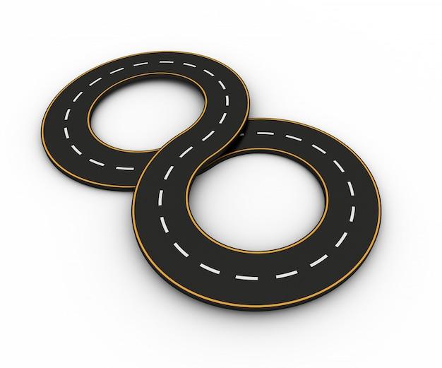 Symbole Nieskończoności W Postaci Drogi Z Białą I żółtą Linią Premium Zdjęcia