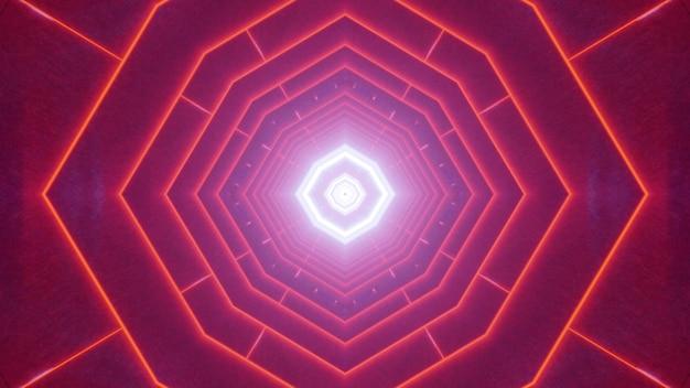 Symetryczna Ilustracja 3d Abstrakcyjnego Tunelu Geometrycznego Oświetlonego żywymi Czerwonymi Liniami Neonu Premium Zdjęcia