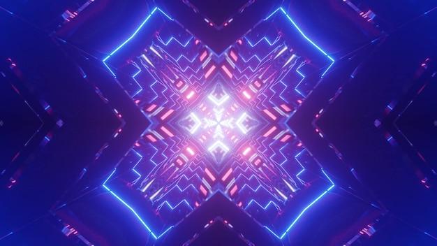Symetryczna Ilustracja 3d Jasnego Tunelu W Kształcie Krzyża, Oświetlonego Błyszczącymi Neonowymi Liniami Premium Zdjęcia