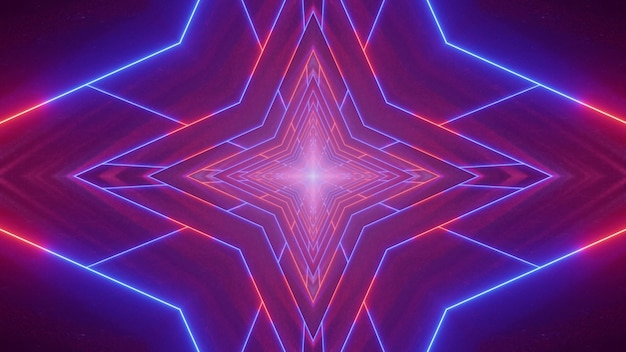 Symetryczna Ilustracja 3d Jasnych Czerwonych I Niebieskich Linii Neonowych Tworzących Tunel W Kształcie Gwiazdy Premium Zdjęcia