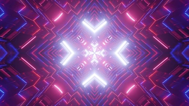 Symetryczna Ilustracja 3d Jasnych Różowych I Niebieskich Linii Neonowych świecących I Tworzących Tunel Z Abstrakcyjnym Ornamentem Premium Zdjęcia
