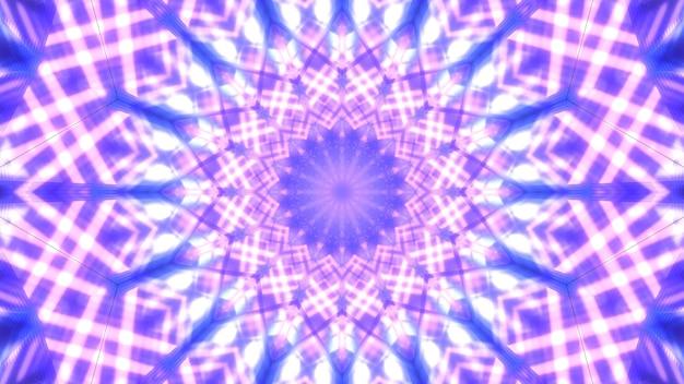 Symetryczne 3d Ilustracji Abstrakcyjnego Tła Z Ornamentem Klejnot Utworzony Z Błyszczących Fioletowych Linii Premium Zdjęcia