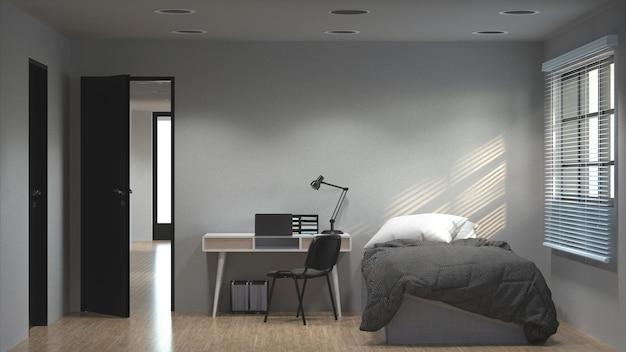 Sypialnia Ma Działającego Biurka 3d Ilustrację I