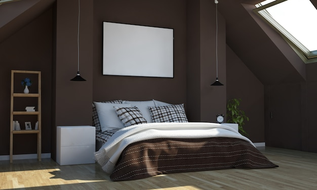 Sypialnia W Kolorze Czekolady Z Makietą Poziomego Plakatu Premium Zdjęcia
