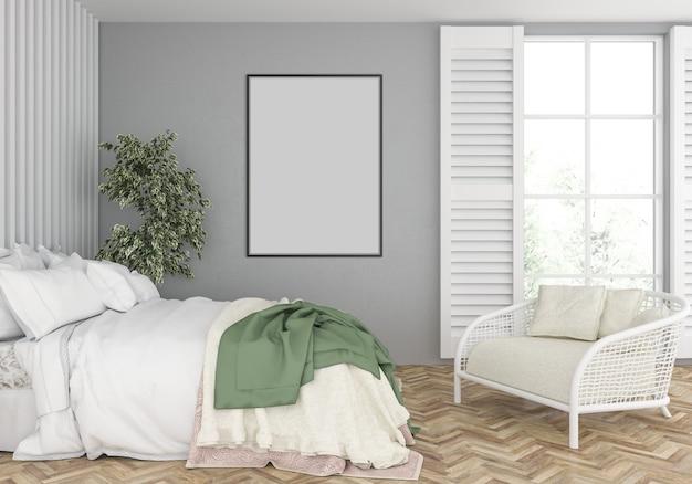 Sypialnia z pustą makietą pionowej ramy Premium Zdjęcia
