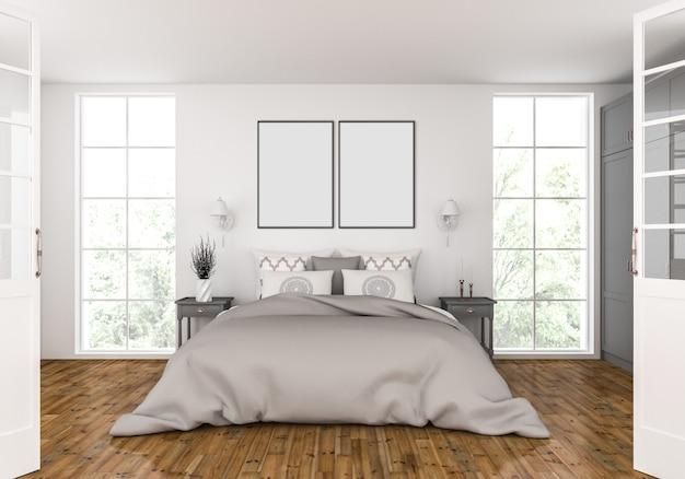 Sypialnia z pustą makietą z podwójnymi ramkami Premium Zdjęcia