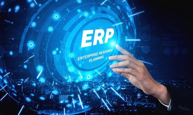 System Erp Do Zarządzania Zasobami Przedsiębiorstwa Dla Planu Zasobów Biznesowych Premium Zdjęcia
