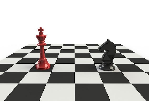 Szachowy Król Z Czarnym Koniem Na Planszy Premium Zdjęcia