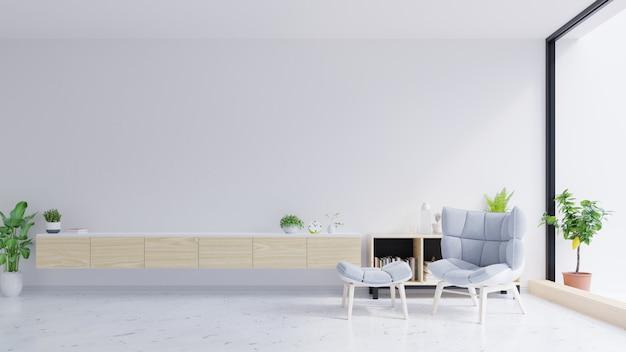 Szafka pod telewizor i szare krzesło na betonowej ścianie z marmurową podłogą. Premium Zdjęcia