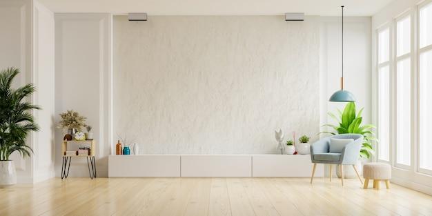 Szafka Pod Telewizor Na Białej ścianie Gipsowej W Salonie Z Fotelem, Minimalistyczny Design, Renderowanie 3d Premium Zdjęcia