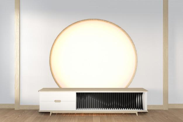Szafka Rtv Drewniana W Nowoczesnym Stylu Pokoju Zen, Minimalistyczny Design. Renderowanie 3d Premium Zdjęcia