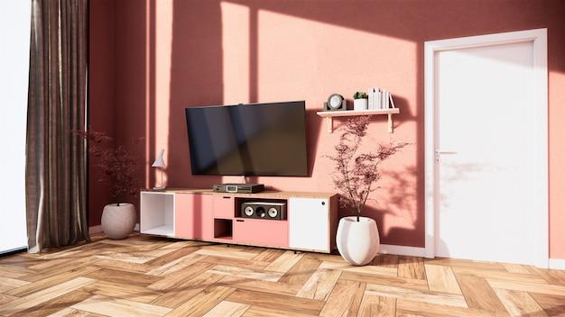 Szafka Rtv I Wyświetlacz Japońskiego Wnętrza Salonu Różowej Sakury Do Edycji. Renderowania 3d Premium Zdjęcia