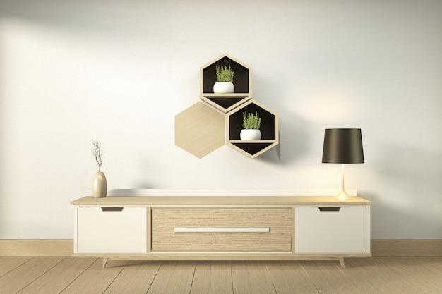 Szafka Rtv W Nowoczesnym Pustym Pokoju W Stylu Japońskim - Zen, Minimalistyczny Design. Renderowanie 3d Premium Zdjęcia