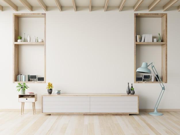 Szafka tv na drewnianej podłodze w nowoczesnym salonie. Premium Zdjęcia