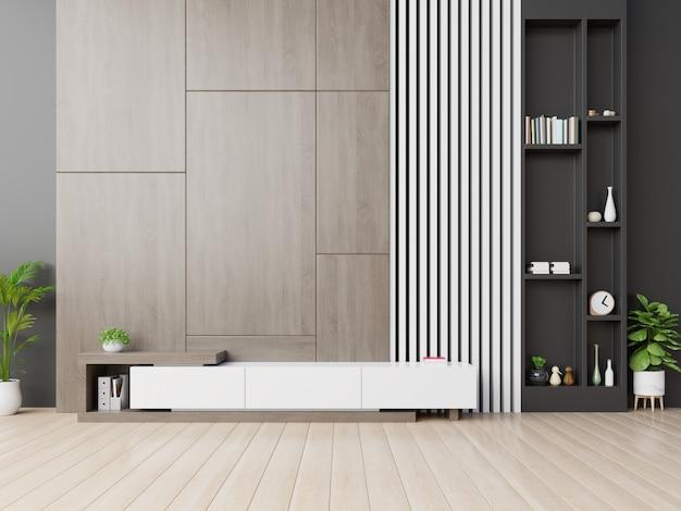 Szafka tv w nowoczesnym pustym pokoju z drewnianym tle ściany. Premium Zdjęcia