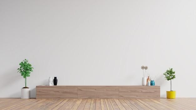 Szafka W Nowoczesnym Pustym Pokoju, Biała ściana. Premium Zdjęcia