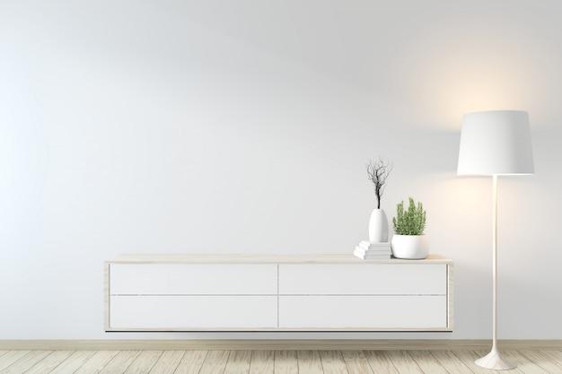 Szafka w stylu zen na nowoczesnym pokoju i dekoracji zen. renderowanie 3d Premium Zdjęcia