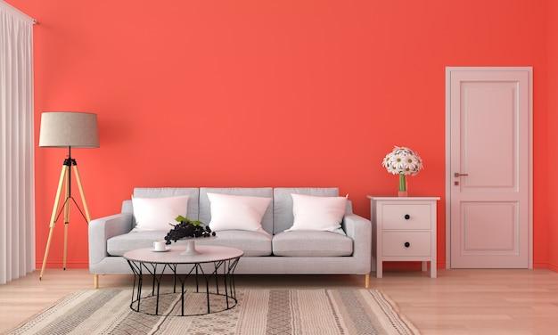 Szara sofa i stół w pomarańczowym salonie, Premium Zdjęcia
