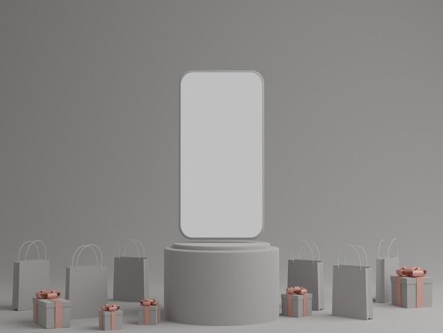 Szare Tło Z Pustym Białym Ekranem Mobilnej Makiety, Pudełku Prezentowym I Torbie Na Zakupy Premium Zdjęcia