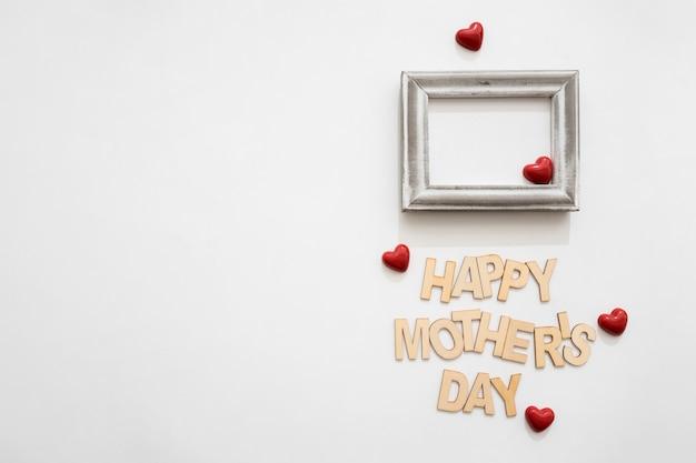 Szczęśliwy Dzień Matki Litera Ramka I Serca Zdjęcie Darmowe