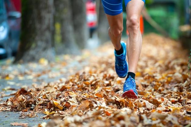 Szczegół Butów Biegacz Wśród Liści Premium Zdjęcia