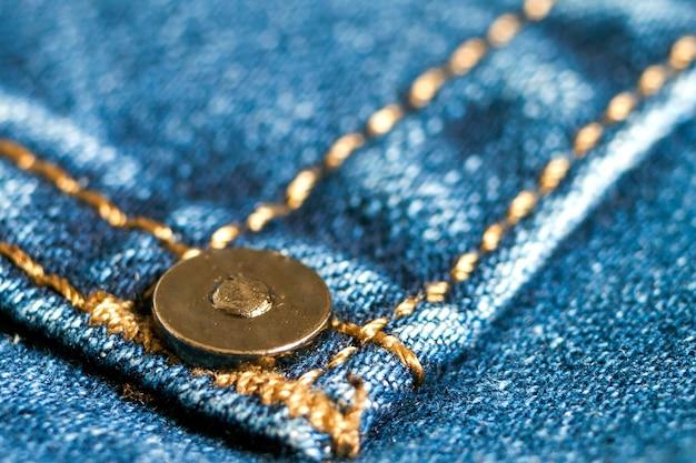 Szczegół Niebieskich Dżinsów Zamknięty Up Premium Zdjęcia