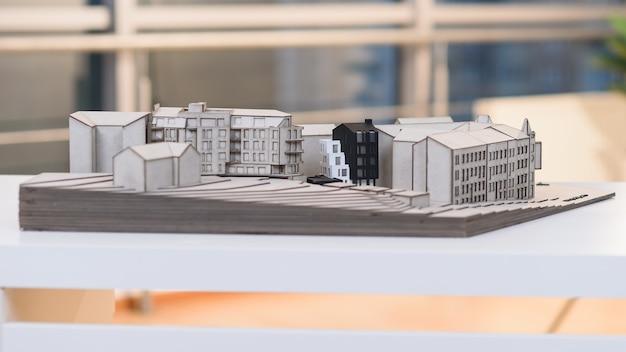Szczegółowa Makieta Architektoniczna Przyszłej Dzielnicy Mieszkaniowej. Premium Zdjęcia