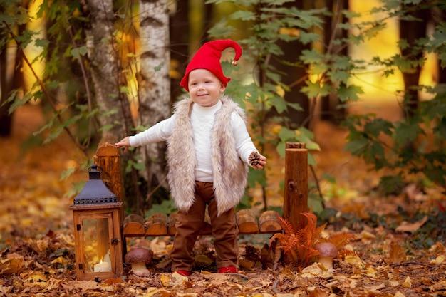 Szczęśliwa Czarodziejska Lasowa Gnom Chłopiec Bawić Się I Chodzi W Lesie Premium Zdjęcia
