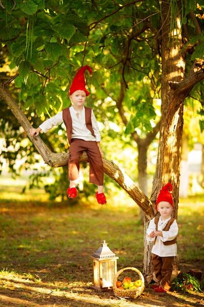 Szczęśliwe Bajkowe Leśne Krasnale Chłopcy, Bracia Bawią Się I Siedzą Na Drzewie W Lesie Premium Zdjęcia