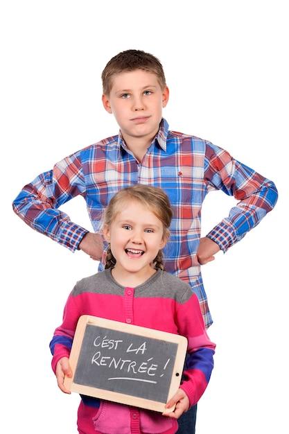 Szczęśliwe Dzieci Trzyma łupek Darmowe Zdjęcia