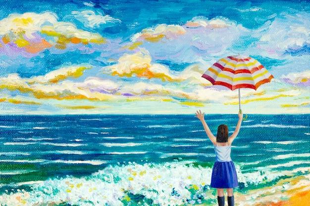 Szczęśliwe Kobiety Na Plaży Kolorowe Obrazy Olejne. Premium Zdjęcia