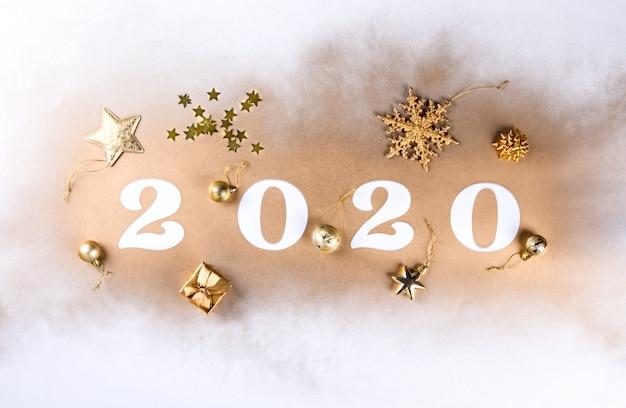 Szczęśliwego Nowego Roku 2020. świąteczna Błyszcząca Kompozycja Premium Zdjęcia