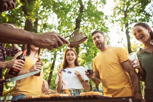 Szczęśliwi Przyjaciele Mają Piwo I Grilla W Słoneczny Dzień Darmowe Zdjęcia