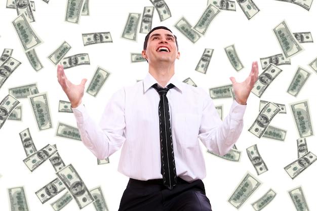 Szczęśliwy Biznesmen I Latający Banknotów Dolara Darmowe Zdjęcia