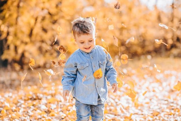 Szczęśliwy ładny Chłopiec Bawi Się Jesiennymi Liśćmi W Parku Premium Zdjęcia