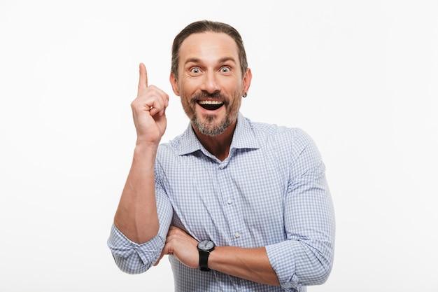 Szczęśliwy Podekscytowany Przystojny Biznesmen Dojrzały Premium Zdjęcia