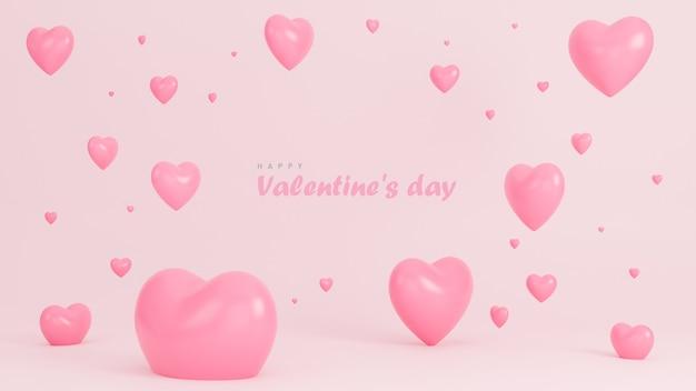 Szczęśliwy Transparent Walentynki Z Wielu Serc Obiektów 3d Na Różowym Tle. Premium Zdjęcia