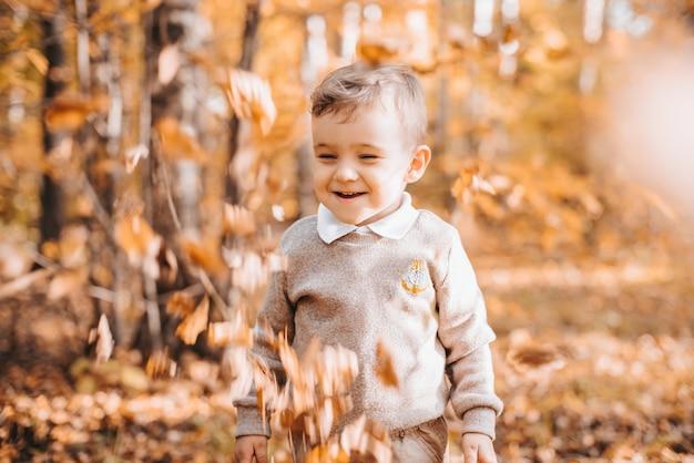Szczęśliwy Uśmiechnięty Chłopiec W Parku Z Jesiennych Liści Premium Zdjęcia